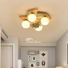 Ceiling Fairy Lights Bedroom Lamp Macarons Kids Room Solid Wood Windmill 4 Lighting Creative Modern Study Room