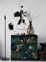 Decals For Malm Dresser Skin Ikea Dark Tropical Leaves Etsy
