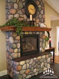 stone fireplace river rock
