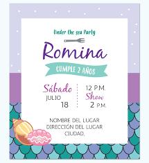 Invitacion Sirenita Cachivache Disenos Digitales Personalizados