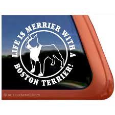 Life Is Merrier With A Boston Terrier High Quality Vinyl Dog Window Decal Walmart Com Walmart Com
