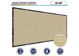 Beige 8ft X 50ft Polyethylene 150gsm Privacy 88 Fence Screen Windscreen4less