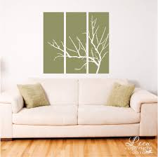 Three Panel With Bare Tree Branches Wall Decal