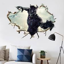 Kids Room Decor 3d Black Panther Wall Sticker Murals Pvc The Avengers Wall Art Decals Marvel Posters Wallpaper Heart Wall Stickers Home Art Wall Decals From Jy9146 4 86 Dhgate Com