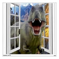 3d T Rex Dinosaur Theme Mural Fake Window Wall Decal Zazzle Com