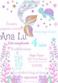 Invitacion Fiesta De 4 Anos Con Tematica De Sirenita En Tonos