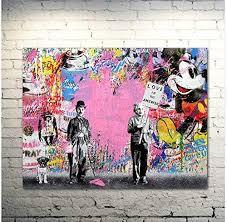 Amazon Com Faicai Art Banksy Graffiti Street Art Pop Art Famous People Pink Heart Canvas Paintings Wall Art Prints Posters Modern Home Decorations Kids Room Wall Decor Wooden Framed 24 X36 Posters Prints