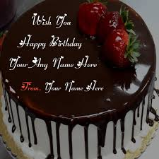 name write birthday chocolate cake