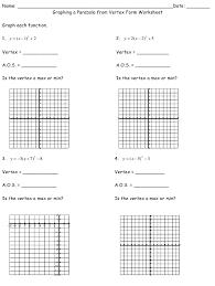 parabola from vertex form worksheet
