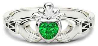 las emerald silver claddagh celtic