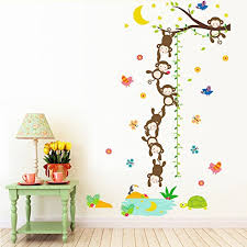 Kids Growth Chart Tree Cute Monkeys And Moon Height Wall Stickers For Kids Room Decor Nursery Decal Sticker Wallpaper Baby B0756zs75b