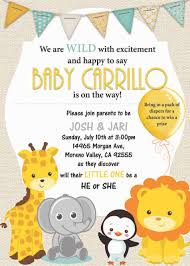 Safari Gender Reveal Invites Baby Baby Shower Animals Baby
