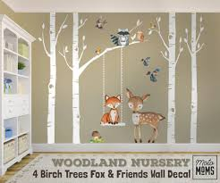 Woodland Nursery Wall Decor 4 Birch Trees Fox Friends Wall Decal Motomoms Decor