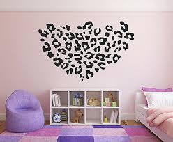 Leopard Heart Girls Wall Decal Big Heart Vinyl Wall Decal Graphics Decor Sticker Ebay