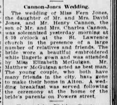 Fern Jones/Henry Cannon wedding 1910, Muncie Star Press ...