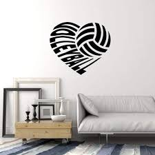 Vinyl Wall Decal Volleyball Heart Ball Sports Art Home Interior Sticke Wallstickers4you