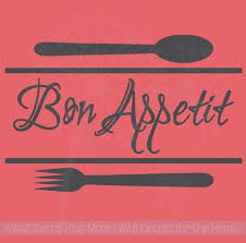 Bon Appetit Kitchen Wall Decal Quote With Utensil Art
