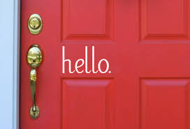 Hello Vinyl Door Decal On Sale Classy Clutter