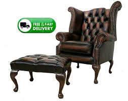 queen anne high back wing chair antique