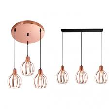 3 lights cage pendant light with linear