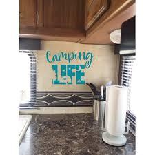 Camper Wall Decal Camping Life Rv Accessories Art Decor Stickers Quote 23x16 Inch Teal Walmart Com Walmart Com