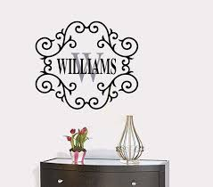 Personalized Custom Family Name And Initial Wall Decal Family Name Monogram Wall Decals Small Medium Large Extra Large Size Options