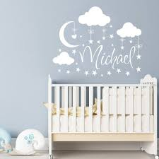 Name Wall Decal Boy Clouds Nursery Decals Moon Decal Stars Etsy Cloud Nursery Decor Nursery Wall Decor Clouds Nursery