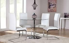 orbit round glass chrome dining table