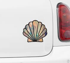 The Decal Store Com By Yadda Yadda Design Co Clr Car Iridescent Scallop Seashell Stained Glass Style Vinyl Car Decals Vinyl Vinyl Decals Sea Shells
