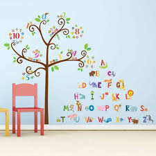 Alphabet Tree Wall Decals Letters Animals Nursery Playroom Room Decor Stickers For Sale Online