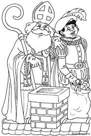 Sinterklaas En Zwarte Piet Op Het Dak Kleurplaat