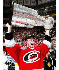 Eric Staal lifts the Stanley Cup after the Carolina Hurricanes ...