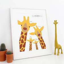 giraffe family selfie portrait print