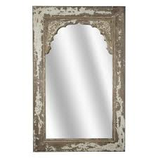 distressed wooden wall mirror brown