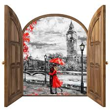 Amazon Com Lovers Wall Decals 3d Sticker London Wall Sticker Landscape Wall Decor For Living Room Bedroom Removable Wall Art Peel And Stick Wall Decal Self Adhesive Sticker Km13 Handmade