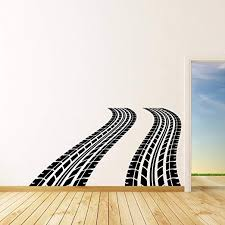 Amazon Com Wall Decals Tire Tracks Vinyl Wall Decal Auto Car Wheel Trace Removable Sticker Art Sports Race Decorations For Home Bedroom Garage Racing Decor Made In Usa Kitchen Dining