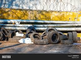 Old Car Tires Piled Image Photo Free Trial Bigstock