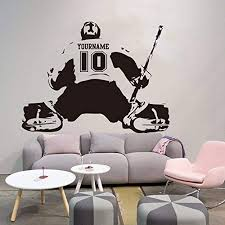 Amazon Com Byron Hoyle Hockey Goalie Wall Decal Custom Name Number Ice Hockey Decal Personalized Jersey Hockey Sport Wall Sticker Vinyl Art Mural Home Decor Home Kitchen