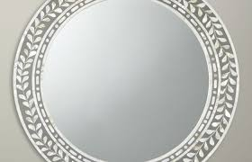 partners mother of pearl round mirror