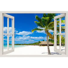 Window Frame Mural Tropical Beach Huge Size Peel And Stick Fabric Royalwallskins