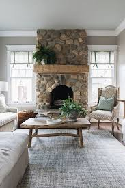 river rock fireplace fireplace features