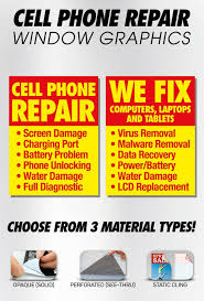 Computer Smart Cell Phone Tablet Repair Solid Sticker Window Sign Banner Poster For Sale Online Ebay