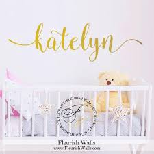 Name Wall Decal Custom Gold Vinyl Decal For Girl Nursery Etsy