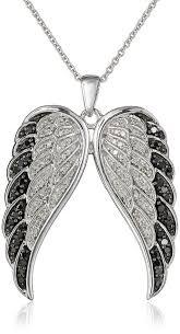 diamond angel wings pendant necklace 1