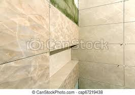 light beige ceramic tiles installed