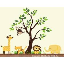 Nursery Wall Decals Yellow Animal Wall Decals Safari And Jungle Stickers Toddler Room Animal Decals Wall Decals Nursery Tall Giraffe