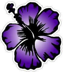 Purple Hibiscus Flower Sticker Custom Wall Graphics
