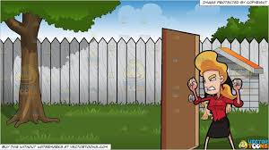 Clipart Cartoon A Woman Getting Mad And Furious At The Other Side Of The Door And Backyard With Doghouse Background Vendor Vect Dog Houses Brown Dog Backyard