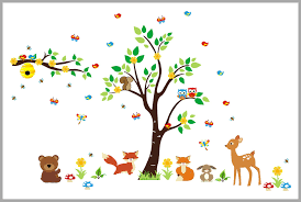Fun Furry Woodland Creatures Forest Wall Decals Nursery Adhesive Nurserydecals4you
