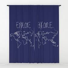 World Map Navy Blue Cool Kids Teen Boys Bedroom Window Curtains